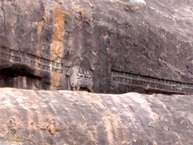 Relieves of 63 nayanmar-s with Siva, Parvathi on the bull, Kudumiyamalai