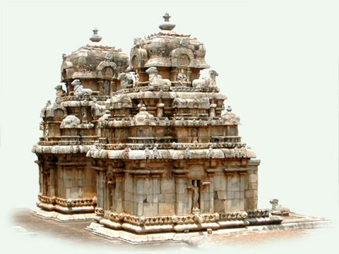 The vimanam of the temples