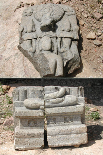 The broken sculpture of Tirthankara, Aluruttimalai, Narttamalai