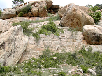 Parts of fort wall on the eastern side of the kottai-malai, Narttamalai