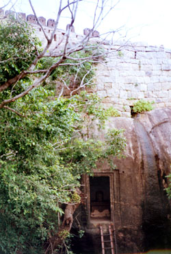 The rock-cut shrine in the fort, Thirumayam