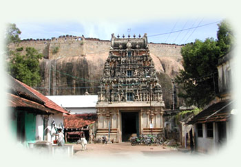 Raja-gopuram of Siva Temple with the fort in the background, Thirumayam